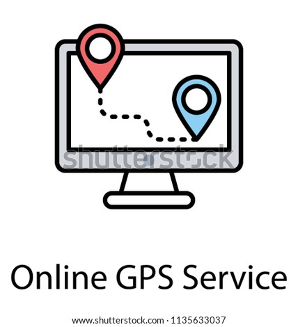 online gps tracker on monitor screen stock vector royalty free