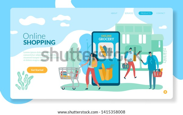 Online Grocery Landing Internet Retail Purchase Stock Vector
