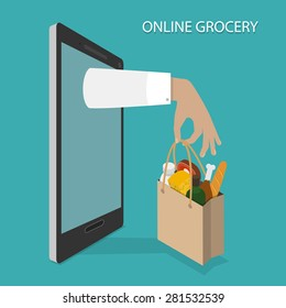 Online Grocery Ordering, Delivery Concept Flat Isometric Vector Illustration of Hand With Bag of Foods Appeared From Smartphone or Tablet.