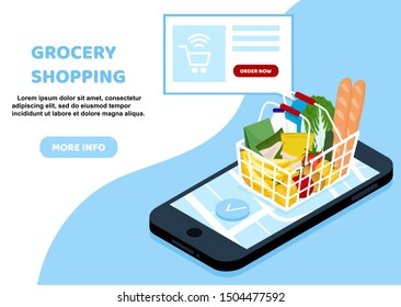 Online Grocery shopping concept. Smartphone screen with buy button and supermarket basket full of food. Modern concept for web banners, web sites, infographics. Creative flat design vector