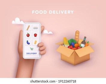Online grocery shopping. elivery service. Online ordering of food, grocery delivery, e-commerce. 3D Vector Illustrations.
