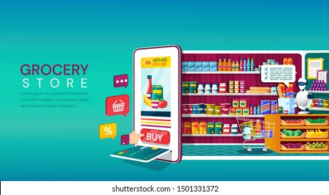 Online Grocery Store shopping concept with a mobile phone with card slot and shopping icons backing onto a fully stocked store,with assistant behind a counter in a colorful cartoon vector illustration