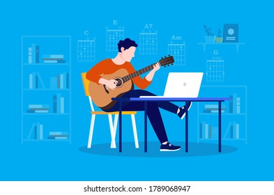 Online guitar lesson - Man sitting in chair playing instrument in front of laptop computer. Chords and interior in background. Learn guitar concept, vector illustration.