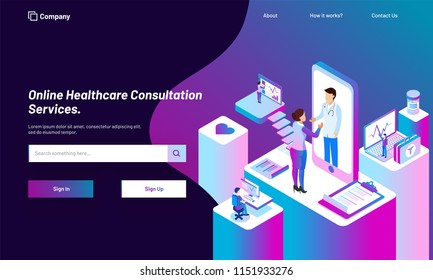 Online Healthcare Consultation service platform with isometric illustration of smartphone, doctor, patient and medical equipments for responsive web template design.