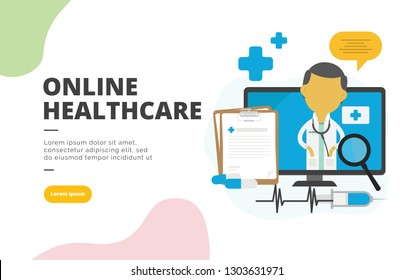 Online Healthcare flat design banner illustration concept for digital marketing and business promotion