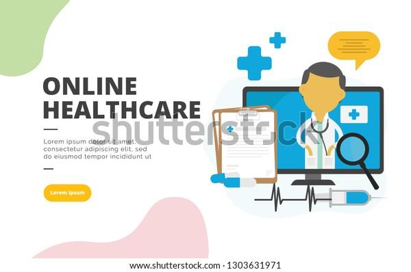 Online Healthcare flat design banner illustration concept for digital marketing and business promotion