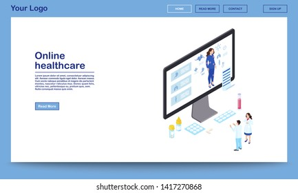 Online healthcare isometric website template. Remote doctors analysing woman health, prescribing medication. Distance internal organs scanning, internet diagnostics. Ehealth homepage with text space