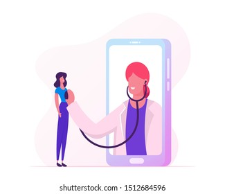 Online Healthcare Service. Professional Doctor in White Coat on Big Smartphone Screen Listen Patient Heart Beating with Stethoscope. Hi-Tech Health Care Technologies. Cartoon Flat Vector Illustration