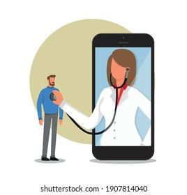 Online healthcare service professional doctor in white coat on big smartphone screen listen patient