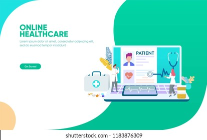 online healthcare vector illustration concept, doctor and nurse taking care of patient can use for, landing page, template, ui, web, mobile app, poster, banner, flyer