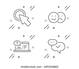 Online help, Like and Click here line icons set. Approved sign. Web support, Social media dislike, Push button. Chat message. Technology set. Line online help outline icon. Vector
