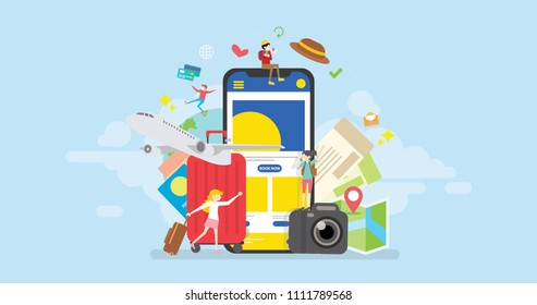 Online Holiday Travel  Mobile App Reservation Tiny People Character Concept Vector Illustration, Suitable For Wallpaper, Banner, Background, Card, Book Illustration, Web And Landing Page Concept