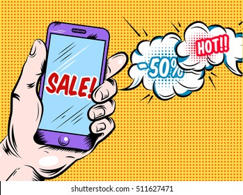 Online hot sale comic style design with purple smartphone in hand and speech bubbles vector illustration