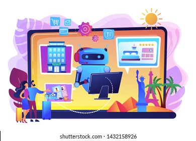 Online hotel booking system. Smart hospitality industry, autonomous robots for business. Concierge robot, artificial intelligence in tourism concept. Bright vibrant violet vector isolated illustration