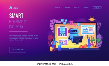 Online hotel booking system. Smart hospitality industry, autonomous robots for business. Concierge robot, artificial intelligence in tourism concept. Website homepage landing web page template.