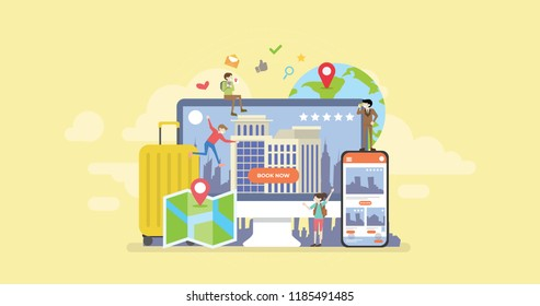 Online Hotel Reservation Mobile App Tiny People Character Concept Vector Illustration, Suitable For Wallpaper, Banner, Background, Card, Book Illustration, And Web Landing Page