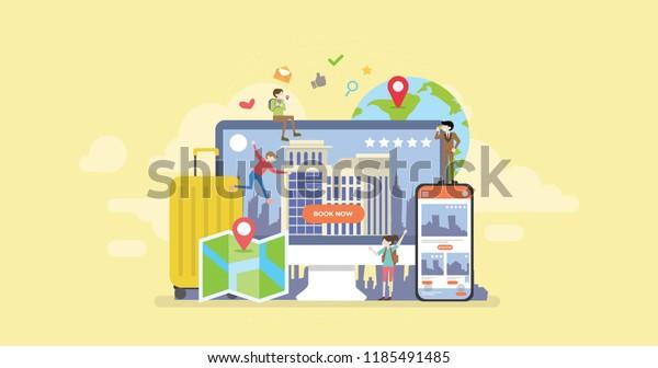 Онлайн Бронирование гостиниц Мобильное приложение Крошечные люди Характер Концепция Векторная Иллюстрация, Подходит для обоев, Баннер, Фон, Карточка, Книжная Иллюстрация, И Web Landing Page