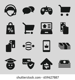 Online icons set. set of 16 online filled icons such as chat, graduate emoji, operator, home connection, real estate on laptop, shopping sale, shopping cart, atom interaction