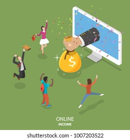 Online income flat isometric vector concept. Big hand is appeared from the monitor and giving a money bag to the rejoicing people.