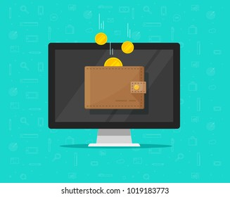 Online income money in electronic wallet vector illustration, flat cartoon golden coins flying in wallet on computer pc, concept of fund savings, cash earnings, financial success, digital wealth