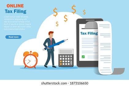 Online income tax filing, tax return and financial technology concept. Businessman report online tax on smart phone with printed document receipt.