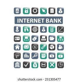 online internet bank, finance, money, payment isolated design flat icons, signs, illustrations vector set on background