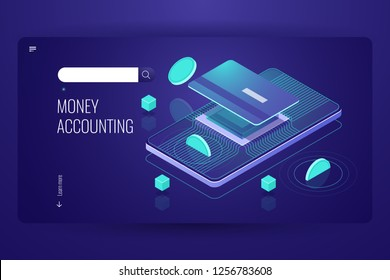 Online internet banking, mobile bank isometric, coin falls on credit plastic card, accounting capital money, cryptocurrency blockchain technology, payment concept vector
