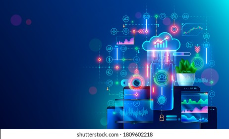 Online internet business conceptual banner. Work in home office and distance collaboration with team through cloud web service. Phone app of digital service management of business on mobile devices.