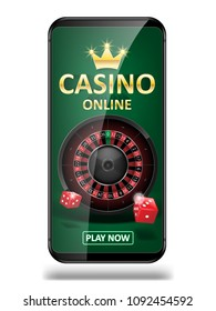 Online Internet casino marketing banner. phone app with dice, poker and roulette wheel. Playing Web poker and gambling casino games. Vector illustration