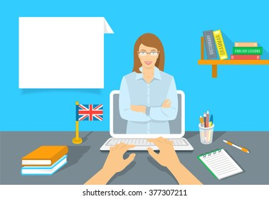 Online Internet language courses flat vector illustration. Foreign speech study at home using computer. English teacher with text box and book, notebook, a pen and the British flag on the table