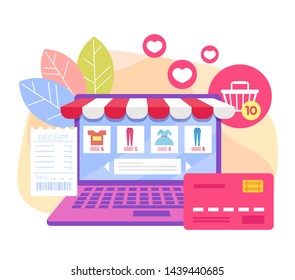 Online internet shopping concept. Vector flat cartoon design graphic isolated illustration