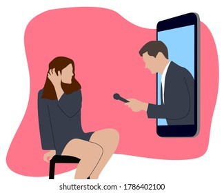 Online interview conversation by smartphone when social and physical distancing to prevent corona spreads