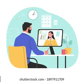 Online interview. Vector flat modern illustration of a man talking to a young woman on a video call on his computer. Isolated on background