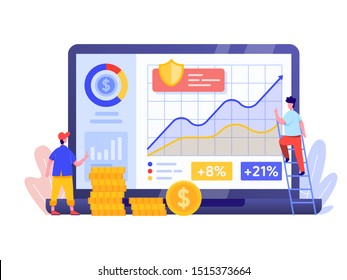 Online Investment with Laptop Concept. Financial technology and Business investment Illustration. Template for anding page, template, ui, web, homepage, poster, banner, flyer