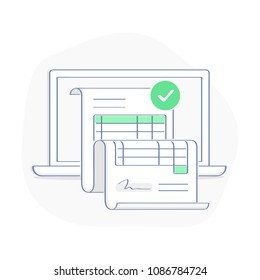 Online invoice payment on computer vector illustration, line cartoon pay bill tax via laptop concept, financial accounting, successful electronic payment notification, transaction with digital receipt