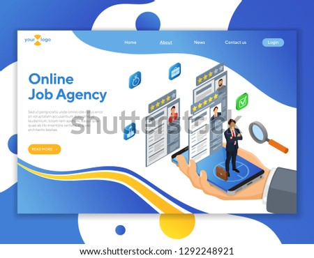 Online Isometric Employment Recruitment Hiring Concept Stock Vector
