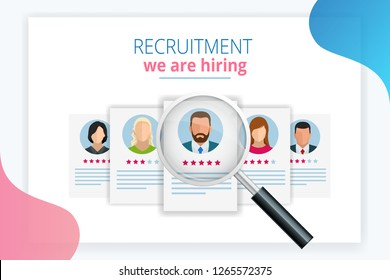 Online job search and human resource, recruitment concept. We are hiring. Presentation for employment and infographics for recruiting. Template website Landing page.