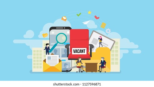 Online Job Vacancy Tiny People Character Concept Vector Illustration, Suitable For Wallpaper, Banner, Background, Card, Book Illustration, And Web Landing Page