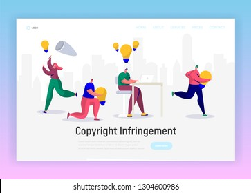 Online Journalist Write Creative Copyright for Social Article Landing Page. Content Writer Work Infringement. Digital Freelance Character Website or Web Page. Flat Cartoon Vector Illustration