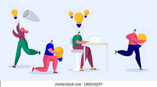 Online Journalist Write Creative Copyright for Social Article. Content Writer Work Infringement. Digital Freelance Character with Light Bulb Blogger Symbol Flat Cartoon Vector Illustration