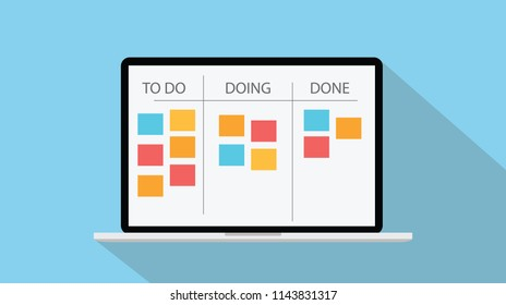 online kanban technology with laptop and paper todo list vector illustration