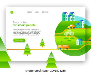 Online landing page of green city campaign. Internet web site template ideal for mobile ui with eco friendly community illustration. EPS10 vector.