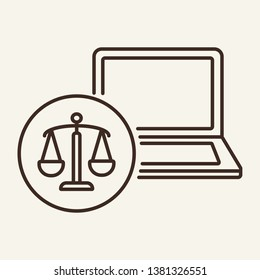 Online law office line icon. Website, legal service, online consultancy, lawyer counsel. Justice concept. Vector illustration can be used for topics like technology, jurisprudence, service