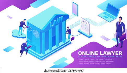 Online lawyer service isometric infographic 3d flat illustration, advocate collecting data, cloud  judicial service, digital technolodgy concept, court building, computer, laptop, people, web banner