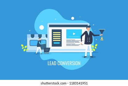 Online lead conversion - Website leads, lead marketing, business lead generation flat design vector with characters