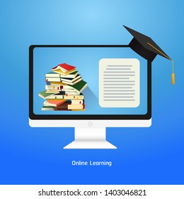 Online Learning , concept  distance education, online learning for web banners