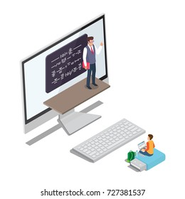 Online learning concept vector illustration with teacher of math at computer screen 3D visualization and pupil sitting at big flash drive near keyboard