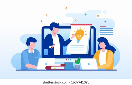 Online learning, courses & tutorials, teaching landing page website illustration flat vector template