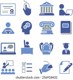 Online learning and education icons