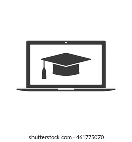 Online learning or e-learning flat icon. Modern laptop and graduation cap isolated on white background. Online learning or e-learning vector concept